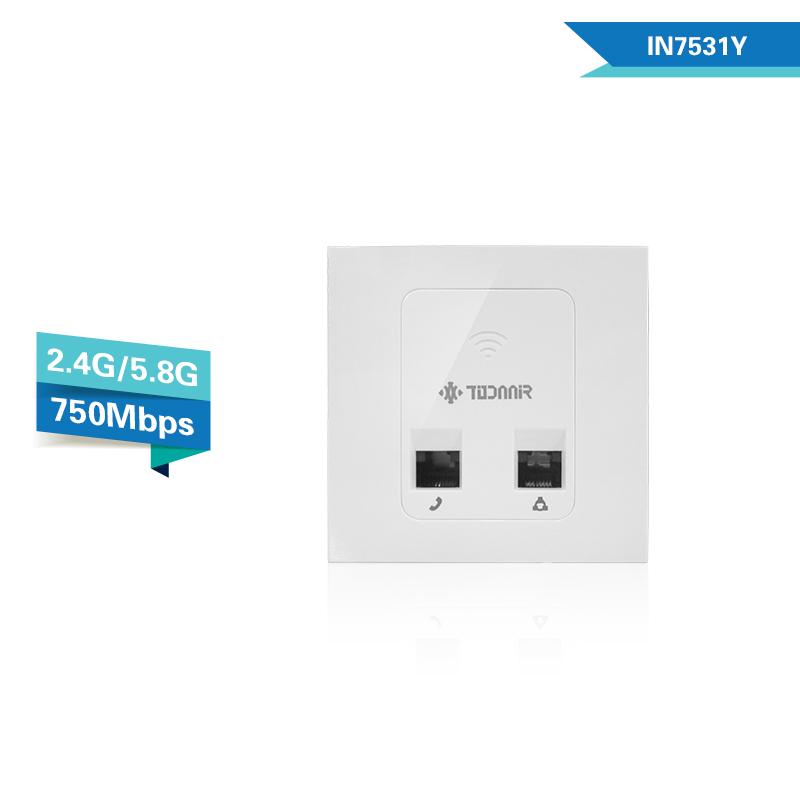 todaair拓达无线ap 2.4G&5.8G双频 750mbps入墙式无线面板ap室内86盒嵌入式酒店WIFI覆盖AC管理 胖瘦一体